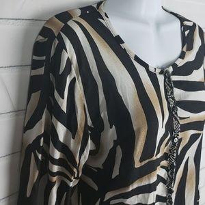 Rafael animal print button down blouse M